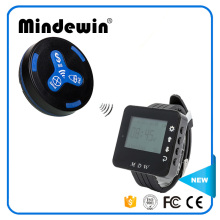 2017 Mindewin Wireless Calling System Service Call Button M-K-3 and Wrist Watch Pager M-W-1 Restaurant Waiter Paging System