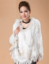 LX00079 Classic Real Knitted Rabbit Fur Shawl with Raccoon Fur Collar Casual Knitted Fur Poncho with Tassels 4 Colors Available