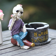 Creative personality big skull ashtray ashtray resin antique style Halloween Horror ashtray(China)