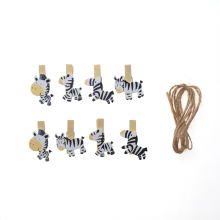 8 wooden clips socks shoelaces basked wooden clamp cartoon horse wooden clip wedding party picture clip with hemp rope
