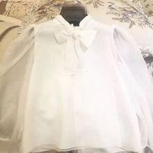 Spring/Autumn 1pc girls blouse with boy tie white chiffon translucent long sleeve school girl blouse 3-11Y kids blouse for girls