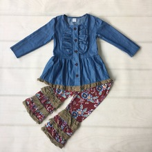 New Fashion Denim Cardigan Baby Outfits With Button Children Remake Clothes Knitted Ruffle Pants Boutique Girl Clothing F117(China)