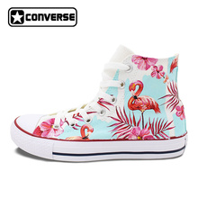 Fluorescent Pink Flamingo Palm Tree Flowers Original Design Hand Painted Canvas Sneakers High Top Converse All Star Shoes