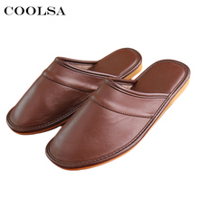Coolsa 2017 Winter New Men Leather Cotton Slippers PU Short Plush Oxford Home Slippers Mens Waterproof Indoor Casual Warm Shoes(China)