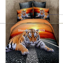 100% Cotton 3D Bedclothes Yellow Highway Tiger Animal 4pcs Bedding Sets King Or Queen Reactive Print