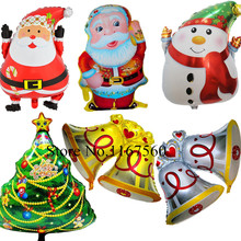 1PC Cute Christmas Tree Santa Claus Snowman Bell Foil Balloons Xmas Home Party Decoration Inflatable Air Balloons Gift For Kids(China)