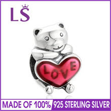 LS New Arrival 100% 925 Sterling Silver Red Enamel Teddy Bear Charm Beads Fit Original Bracelet Pendant Authentic DIY Jewelry