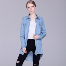2017 women clothing long sleeve pure cotton loose denim shirt blouses Female casual fashion asymmetric jeans shirts long Tops