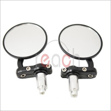"e2c 3"" Pair Motorcycle Rearview CNC Aluminum Rearview Mirror Handle bar End Black Side Mirror(China)"
