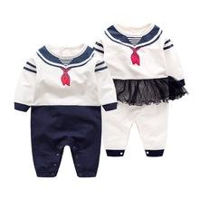 2017 Newborn baby clothes White Navy Sailor uniforms Autumn baby rompers Long sleeve one-pieces jumpsuit baby boy girl clothing
