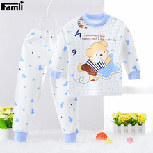 Famli Newborn Baby Pijamas Kid Boy Character Shirt+Pant 2pcs Sleepwear Winter Children Girls Fashion Cotton Full Pajama Set