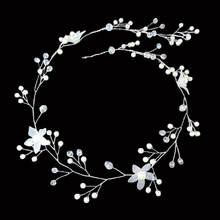 Handmade Long White Flower Wedding Pearl Head Piece Bridal Hair Jewelry For Bride