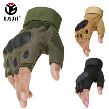 Tactical Hard Knuckle Fingerless Gloves Military Army Bicycle Shooting Paintball Airsoft Motorcross Carbon Half Finger Gloves(China)