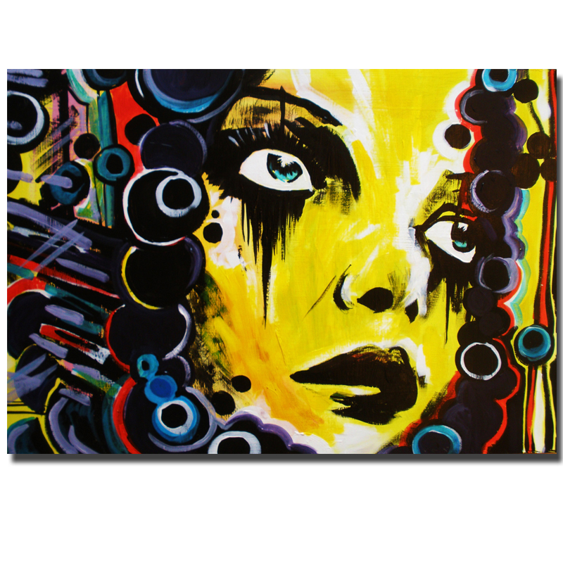 New Graffiti Street Wall Art Abstract Yellow Girl Modern Women Portrait Canvas Oil Painting On Prints For Living Room Unframed(China (Mainland))