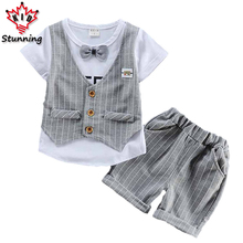 12M-4T Elegant Baby Boys Clothing Sets with Bow 2017 Summer Gentleman Boys Clothes Suit Fashion Kids Clothes for Boys Sets
