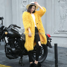 SJ473 Long Length Clothing Fashionable Beautiful Cheap Women Fur Jacket Clothes Garment Yellow Top Quality Coat