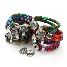 Bohemian Multicolor Cotton Cords Bracelets Tibetan Silver Color Ethnic Wrap Flower Snap Button Bracelet Jewelry Pulseras Mujer(China)