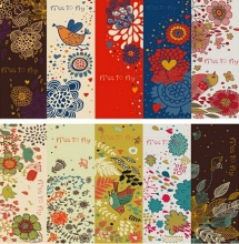 30PCS/lot NEW Vintage Flower & Birds Series paper bookmark set Retro Book marks card bookband