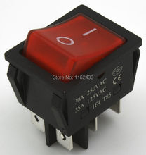 KCD4-202N-3 perforate 30 x 22 mm 30A 6 pin ON - ON boat rocker switch power switch with 220V light