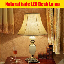 Zinc Alloy base modern bedside Natural jade table lamp with fabric shape and cylinder shade for bedroon light