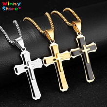 Western Hip-hop Jewelry Chain Necklace Gold Silver Black Color Stainless Steel 3 Layers Solid Cross Pendant Necklace For Men