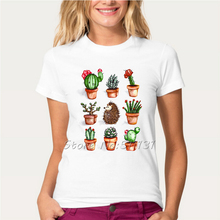 Newest 2017 Fashion Cute Cactus plants Design T Shirt Funny Hedgehog Animal Print T-Shirt Summer High Quality Women's Tops Tees