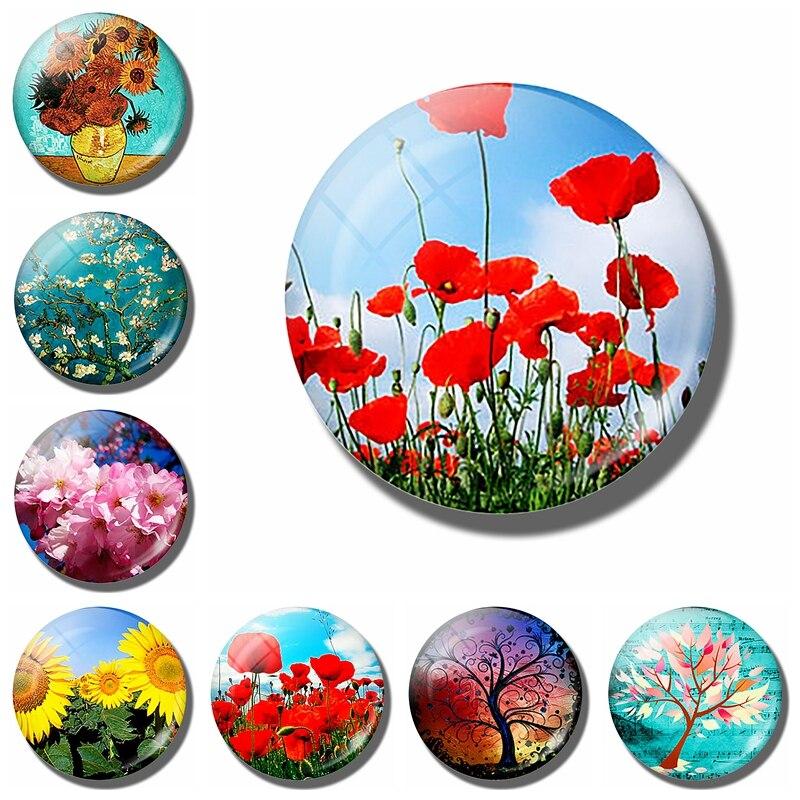 Art Painting Glass Round Retro Flower Pattern Print Refrigerator Sticker Fridge Magnet Life Tree Poppy Flower Message Holder