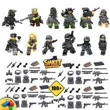 12pcs With 100 Weaons!! SWAT Special Forces The Wraith Assault Mini Toy Figures Policeman Building Block Toy set for kids
