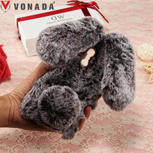 Vonada Plush Case for Nokia 8 / Nokia 6 5 3 Cute Rabbit Ears Fur Cover TPU Diamond Jewelled Soft Cell Phnoe Back Case Cover(China)