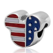 USA Flag Cartoon Mouse Charms Original 100% Authentic 925 Sterling Silver Beads fits Pandora Charms bracelets & Necklaces(China)