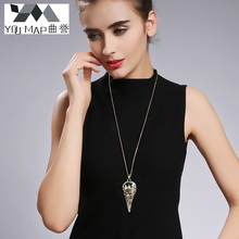 YouMap Personalized Vintage Punk Jewelry Bird Skull Necklace Antique Silver Bronze Crow Head Pendants Necklaces