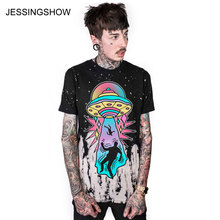 JESSINGSHOW New Arrival Loose Women/man T-Shirts Spring Summer O-Neck UFO Print Short Sleeve T Shirt Fashion Tops(China)