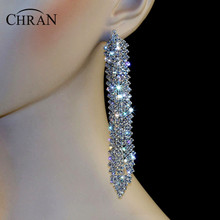 "Chran New Luxury Bridal Gold Color Rhinestone Crystal Earings Wedding Party Dangle 4.6"" Chandelier Drop Earrings Jewelry LE801"