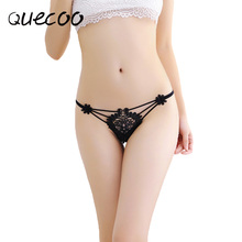 QUECOO Free 3pcs/lots New fine embroidery ladies underwear sexy transparent low waist thong summer stretch breathable T pants