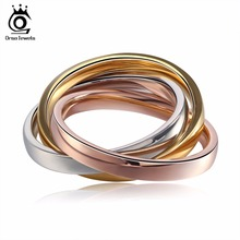 ORSA JEWELS Stylish Color Mixed Ring Set for Women Rose Gold Color 316L Stainless Steel Rings Trendy Party Jewelry GTR24(China)