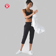 lulu LULULEMON woven 7 minutes of yoga pants for women drawstring Leisure loose black KZ006