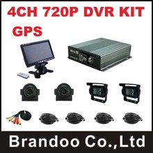 4CH 720P AHD MDVR kit with GPS function, include 4pcs waterproof camera and 1pcs monitor,widely used for truck,tank,van and bus.