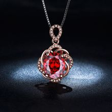 2017 new fashion ruby necklace women AAA zirconia 18 k white gold plated blue zirconia Pendant Cz diamond jewelry for women