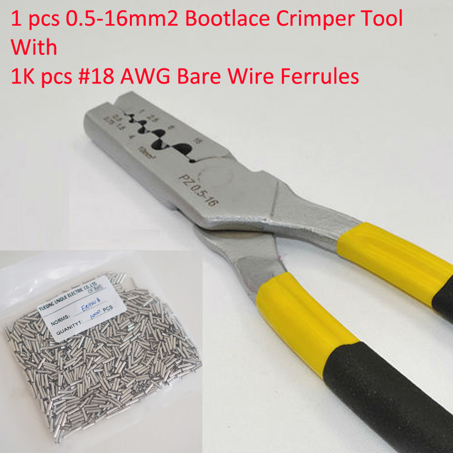 PZ0.5-16 0.5-16mm2 Crimping Tool Bootlace Ferrule Crimper and 1K #18 AWG EN1008 Bare Bootlace Wire Ferrules<br>