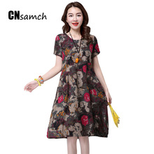New 2017 Summer Dress Women China National Style Flower Printing Cotton and Linen Large Size Dress Short Sleeve Female Dress(China)
