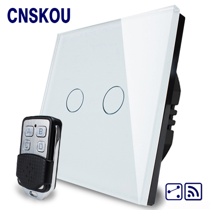 Cnskou Manufacturer EU standard  2 Gang 2 Way Remote Control Electrical Switch  White Touch Waterproof Glass Panel Smart Home  <br>