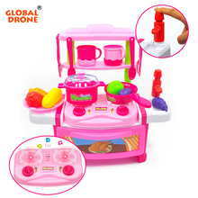 Global Drone Multifunctional Happy Pretend Play Cooking Toys with Play Food Plastic Fruit Toys for Girls Boys Toy Kitchen(China)
