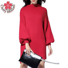 Women Sweater High-End Ladies Lantern Sleeve Loose Knitted Pullovers Tops Autumn Winter Female Thicken Red Sweater Dress