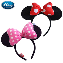 Disney Original Headband Mickey Minnie Butterfly Bow Knot Hair Hoop Headwear Headdress Plush Toys Accessories For Children Girls
