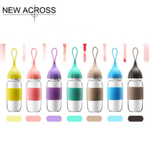 JUH 1Pcs High Boron Silicon Resistance To Cold And Hot Glass Bottle Candy Color Fashion Mini Water Bottle Customized In Bulk