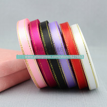 10MM Metallic Satin Ribbon Golden Edge/ Festival Decoration/Gift Packing Metallic Ribbon Free Shippig 50yard/lot,Mixed Color