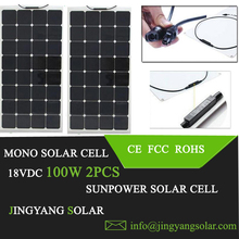 2pcs 100w solar panel 12V or 24V solar system; flexible solar panel 200w watt; semi flexible solar panel 100w 2pcs