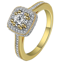 Luxury White Cubic Zirconia Claw Bead Design Jewelry Ring Gold Color New Fashion Women Wedding And Engagement Ring Bijoux Femme(China)