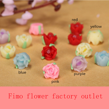 30pc/lot 8mm Mixed Lovely Polymer Clay Fimo Small Mini Rose Flower Bead 3D Nail Art Phone Case Craft Decoration Earring Material(China)