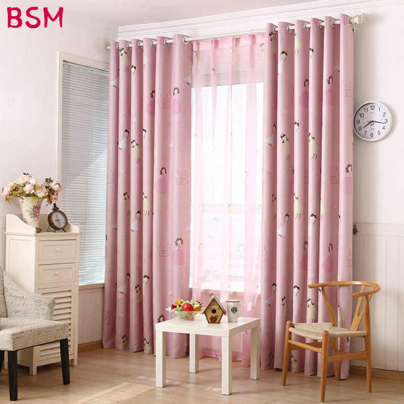 Lovely Cartoon Pink Blackout Curtains For Girls Living Room High Shading Baby Bedroom Children Pink Sheer Kids Cortina AWB0346
